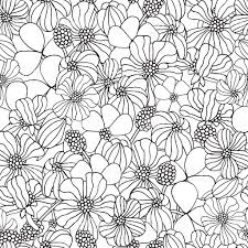 Seamless Floral Pattern For Coloring Book With Spring Flowers Stock