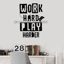 gamer quote vinyl wall decals video game work hard play harder art pvc stickers home decoration self adhesive murals yy532 in wall stickers from home  on personalized vinyl wall art message with gamer quote vinyl wall decals video game work hard play harder art