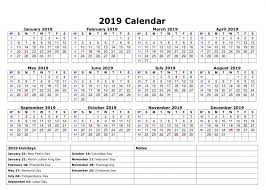 Printable School Year Calendars Download 20 Printable Yearly Calendar 2019 With Usa