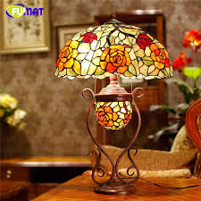 2019 fumat stained glass table lamp art glass rose oval shade table lamp living room european creative bedside led lights from kirke 593 43 dhgate com