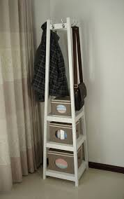 beautiful free standing coat rack 25 fabulous corner organizers design with white painted wooden closet featuring three tiered open shelves and top hook