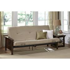 better homes and gardens paneled wood arm futon with 6 mattress brown com