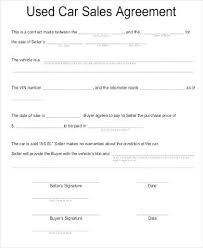 Vehicle Sale Agreement Template Contract For Selling A Car