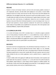 Difference Resume C V And Biodata Resume Communication