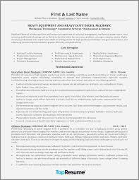 Heavy Duty Mechanic Resume Sample New Resume For Diesel Mechanic