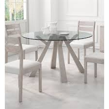 zuo beaumont glass round dining table in sun drenched acacia