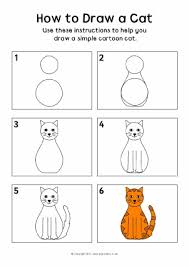 cat drawing step by step.  Cat How To Draw A Cat Instructions Sheet SB8218 With Drawing Step By S