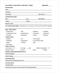 Injury Incident Report Template Interesting Sample Accident Report Form 48 Free Documents In Word PDF