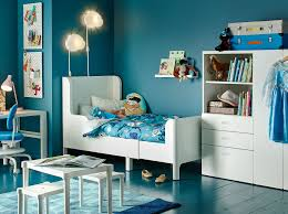 ikea children bedroom furniture. A Blue Children\u0027s Bedroom With White Extendable Bed, Wardrobe, Table And Desk. Ikea Children Furniture I