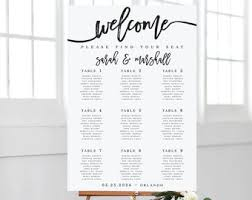 Wedding Seat Chart Poster Seating Chart Poster Etsy