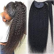 Full Shine <b>14 Inch</b> Wrap Ponytail <b>Kinky</b> Straight <b>Short Hair</b>