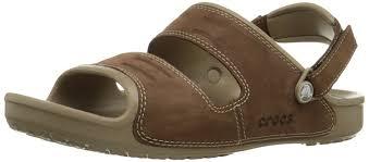 crocs men s yukon two strap sand open toe sandals black black 9 m us brown khaki espresso men s shoes sandals toddler crocs top designer collections