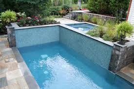 swimming pool water rocks plants flowers stairs