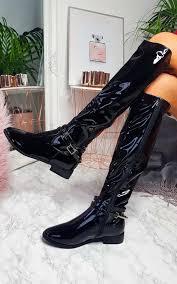 aubrey patent knee high stripe boots