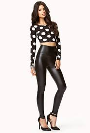 lyst forever 21 faux leather high waist leggings in black