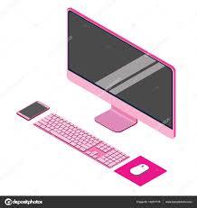 pink modern flat computer desktop isometric vector ilration for info graphic design display keyboard