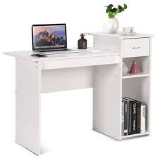 Tables for home office Grey Costway Computer Desk Pc Laptop Table W Drawer And Shelf Home Office Furniture White Amazoncom Costway Costway Computer Desk Pc Laptop Table W Drawer And Shelf
