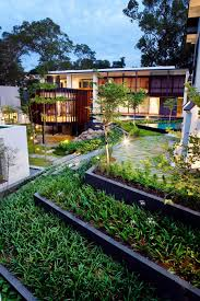 view in gallery luxury layered house and gardens with screened circular