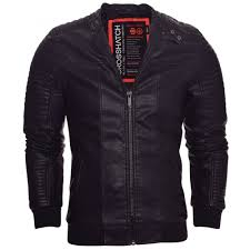 crosshatch mens classic leather look biker jacket zip pockets