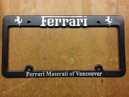 Hardware hiders are also available to match the finish of the frame you order, and a clear license plate protector adds that finishing touch. Ferrari Maserati Of Vancouver License Plate Frame 1998211527