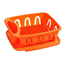Dish Drainer Orange Plastic Removable Tray