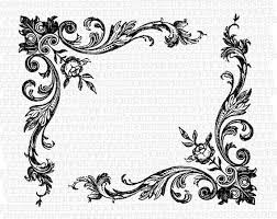 Floral Corner Border Antique Victorian Designs Vintage Clip Art  Illustrations High Quality Clipart Graphics Img1021
