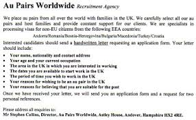 academic desk academic writing templates for a job application  how would you answer the following newspaper ad for an au pair job in the uk for a larger view click on the photograph