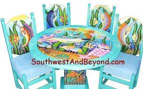 tropical painted furniture. Exellent Furniture Funky Painted Coastal Furniture  01b  Tropical Fish Table Sets U2013 Hand  Carved Painted 084 Throughout Furniture