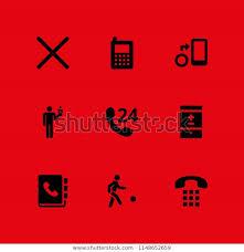 Icon Set Humanpictos Telephone Phonebook Vector Stock Vector