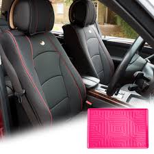car leather seat cushion covers front bucket black w dash mat for auto 0