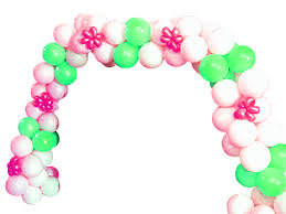 pink and green balloon arch