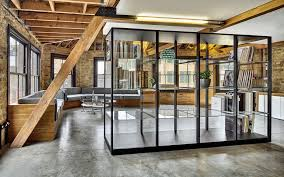 office industrial design. Combination Of Brick And Wood In The Office Interior Industrial Design