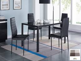 ids 5 pcs glass dining table and chairs set glass top metal leg frame home furniture
