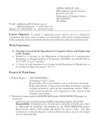 Resume Samples For Lecturer In Engineering College