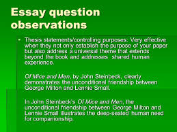 "of mice and men of mice and men and grammar ""i wanna tend the  10 essay question observations"