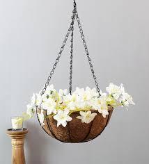 brown metal hanging basket for