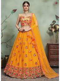 Lehenga Choli Designs Yellow Colour Designer Wedding Embroidery Soft Net Lehenga Choli