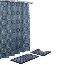 bath fusion terrell light blue navy 15 piece bath rug and shower curtain set