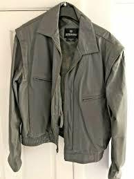 vintage mens bermans leather jacket coat size 50b gray w liner