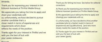 Woman Returns Job Rejection Email With Corrections ABC News Interesting Resume Rejection Email