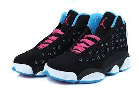jordan shoes for girls black and purple. girls air jordan 13 retro black dynamic blue pink for sale-4 . shoes and purple