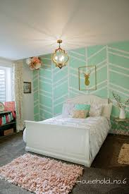 Small Picture Little girls mint and gold bedroom Harringbone wall kids space
