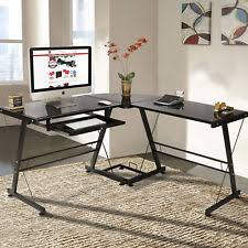 office glass desk. BCP L-Shape Computer Desk PC Glass Table Workstation Corner Home Office - Black P