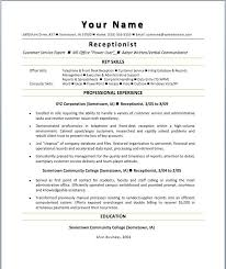 Receptionist Resume Sample No Experience For Older Workers Career