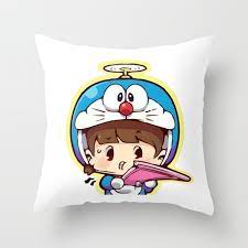 Doraemon chibi cosplay Throw Pillow by lintangyogiswara