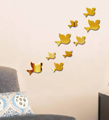 acrylic gold birds wall decals by sehaz artworks