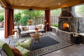 Outdoor Covered Living Room Fireplace And Seating Area Pinterest