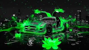 mercedes sls amg fantasy flowers city car