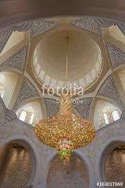 chandelier inside the sheikh zayed mosque in abu dhabi