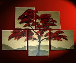 large tree painting red gold huge art custom modern abstract original peaceful 56x40 hills asian chinese